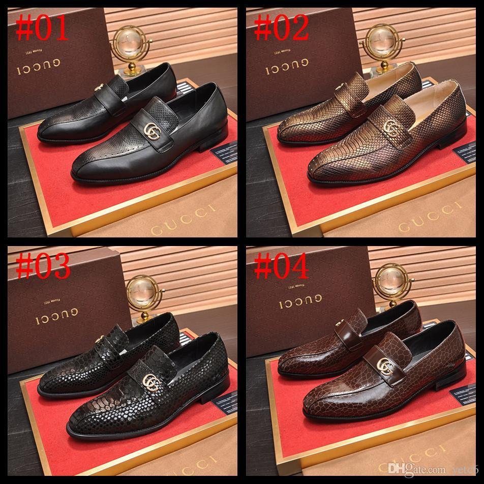 marchi di lusso 18SS scarpe da sera a punta in vernice scarpe da sposa neri uomini classici degli uomini di Oxford Pattini convenzionali di grandi dimensioni gioiell