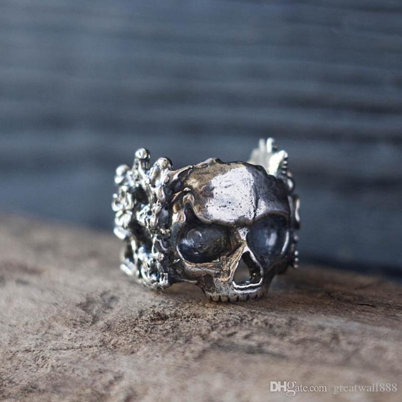 Gothic Mexican Flower Sugar Skull Rings Women 316L Stainless Steel Punk Flowers Ring Jewelry Size 7-13