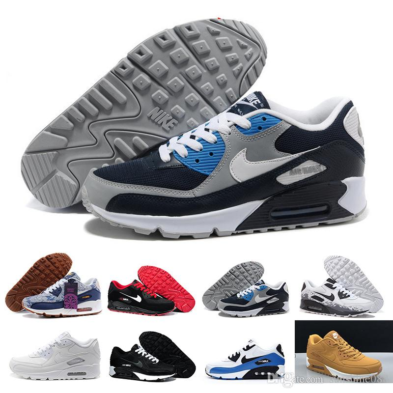 2018 Cheap Men Women Sneakers Shoes Classic 90 Men Casual Shoes Wholesale Drop Shipping Sports Trainer Air Cushion Sports Shoes HY8PT
