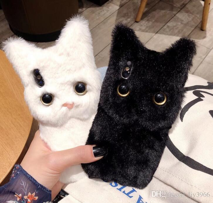 CALIENTE caliente del invierno lindo gato de felpa cáscara del teléfono móvil de la pelusa creativo cubierta suave cubierta del teléfono móvil
