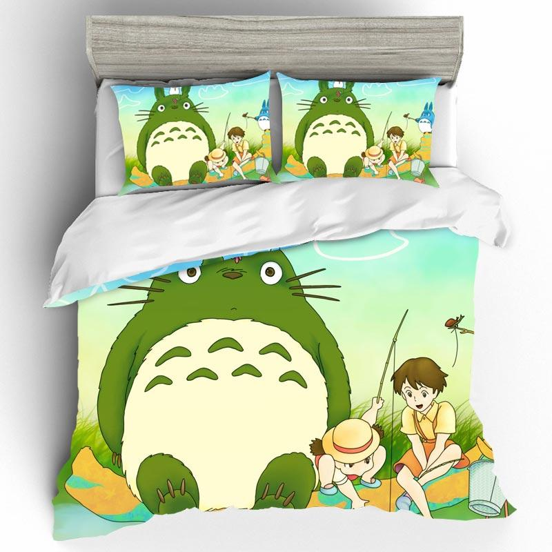 DIY Totoro Bedding Set 3D Home Textile Quality Qualified Cotton Single Queen King Size Bedding Set Duvet Cover Pillow Cases