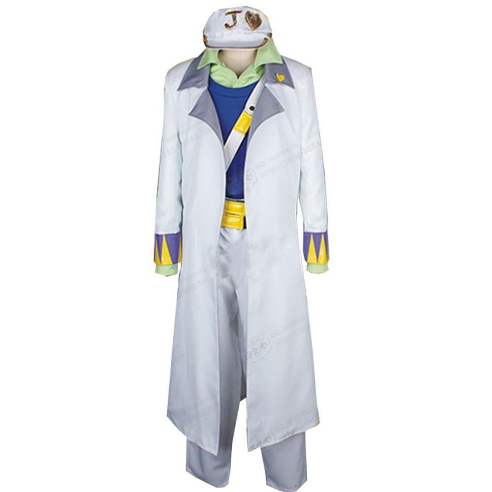 JoJo Bizarre Adventure Cosplay Traje Kujo Jotaro traje blanco como el sistema completo del uniforme del traje de Halloween Carnaval hombres de las mujeres de Cosplay