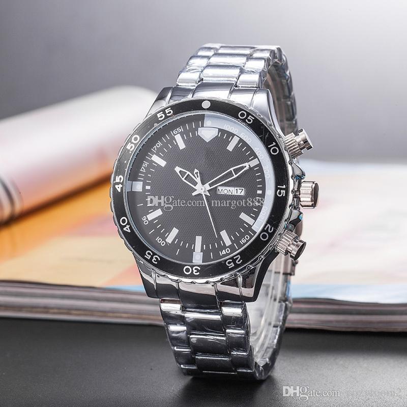 Di vendita caldo Mens Watch GMT Casual Fashion Calendar orologio al quarzo in acciaio 45mm di diametro migliore qualità libera il trasporto