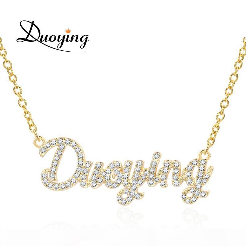 Duoying 2019 Zirconia colares colar de pingente para mulheres pedra mulheres cadeia Colar personalizados com nomes iniciais Letters MX190730
