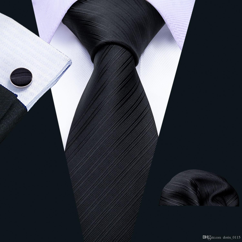 الشحن السريع العلاقات الحريرية للرجال الأسود الصلبة الجاكار المنسوجة مع منديل وأساور بالجملة أزياء الزفاف شحن مجاني N-5089