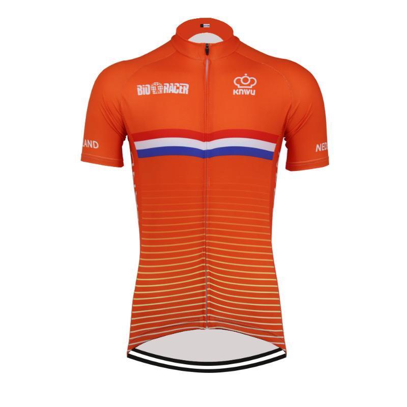Hot Classique Retro NOUVEAU Pays-Bas Maillot Cyclisme Vélo Course sur route Road Team Short Race Top orange Cyclisme Porter des vêtements de course