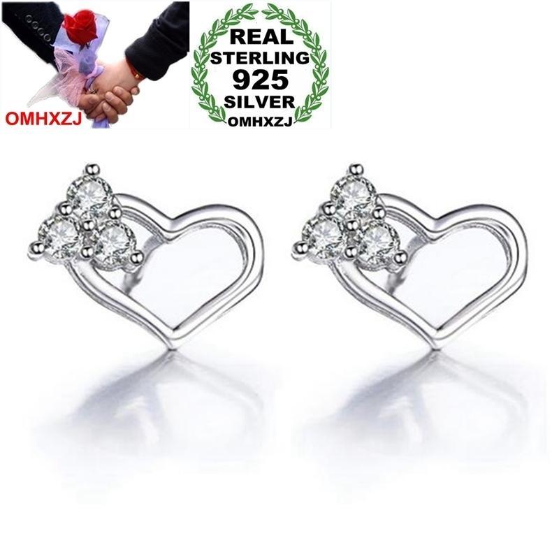 OMHXZJ Venta al por mayor dulce moda OL para mujer chica regalo de boda corazón a corazón Zircon 925 pendientes de plata esterlina YS356