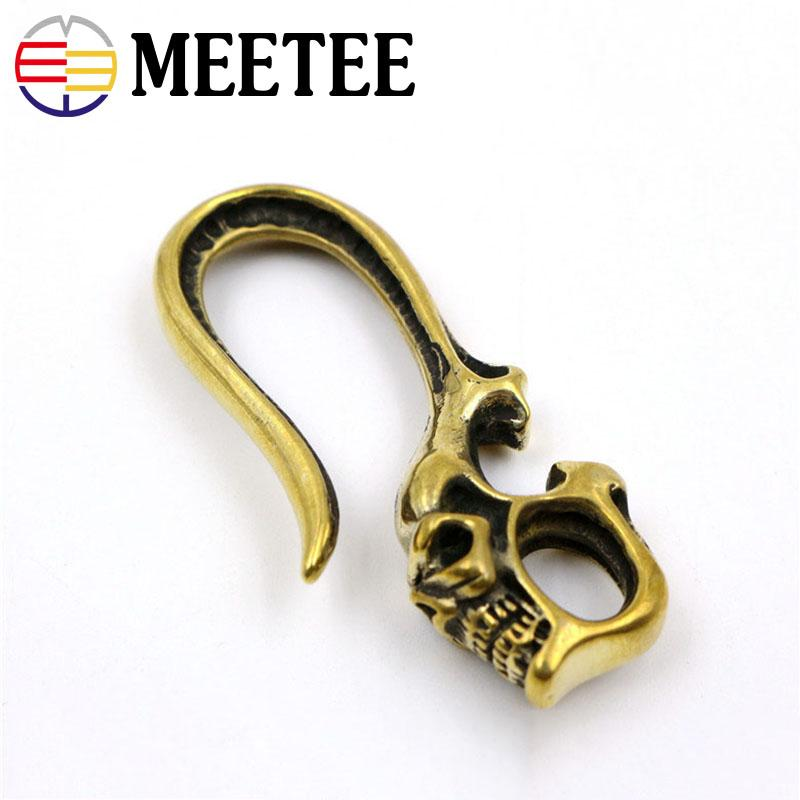 Solid Brass Skull KeyChain Hooks Wallet Chain Clip Hanger Bag Belt Jeans Accessories DIY Leather Crafts