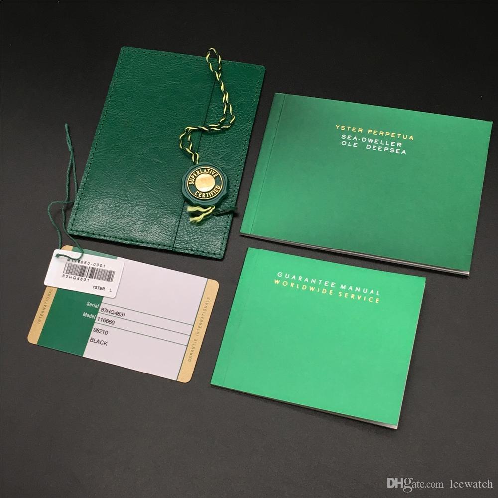 Оригинал Правильный Matching Зеленый Буклет Документы Security Card Лучшие часы Box для Rolex коробки Буклеты Часы Свободный печати пользовательских карт подарок