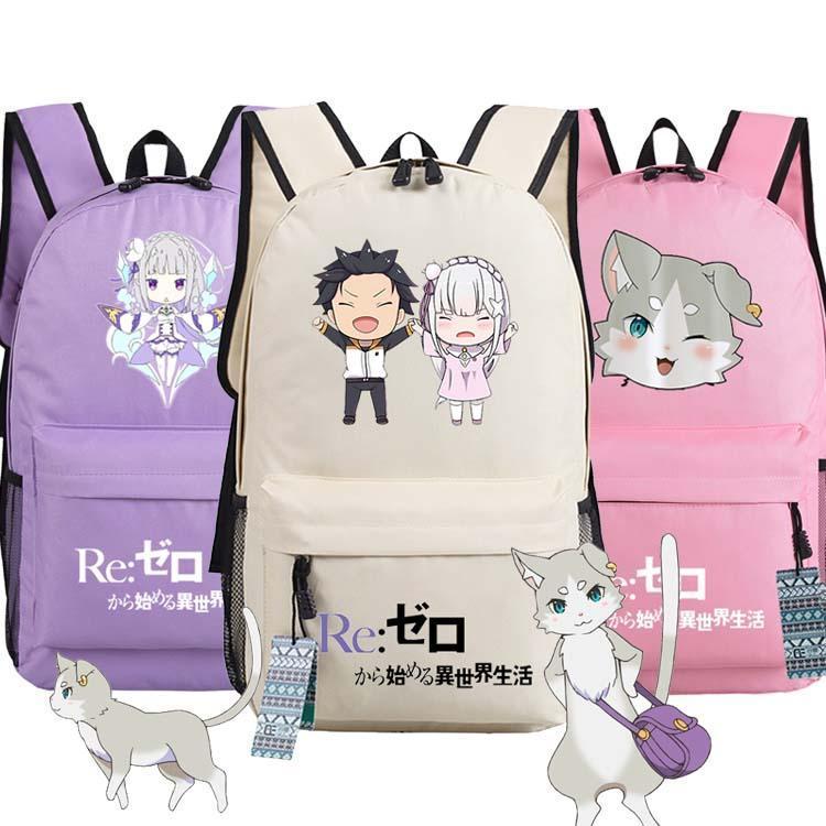 Zero kara Hajimeru Isekai Seikatsu Emiria Backpack Rem Puck Anime malas Student oxford Mochilas escolares como presente