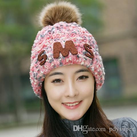 [épaississement de velours plus] femmes chapeau dames d'automne et d'hiver chaud chapeau de laine tricotés chapeau étudiants coréens marée occasionnels