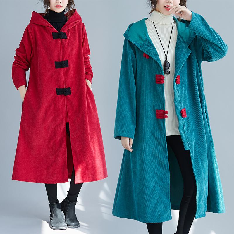 corduroy plus size solid vintage hooded women loose long autumn winter female trench coat 2020 clothes DB631