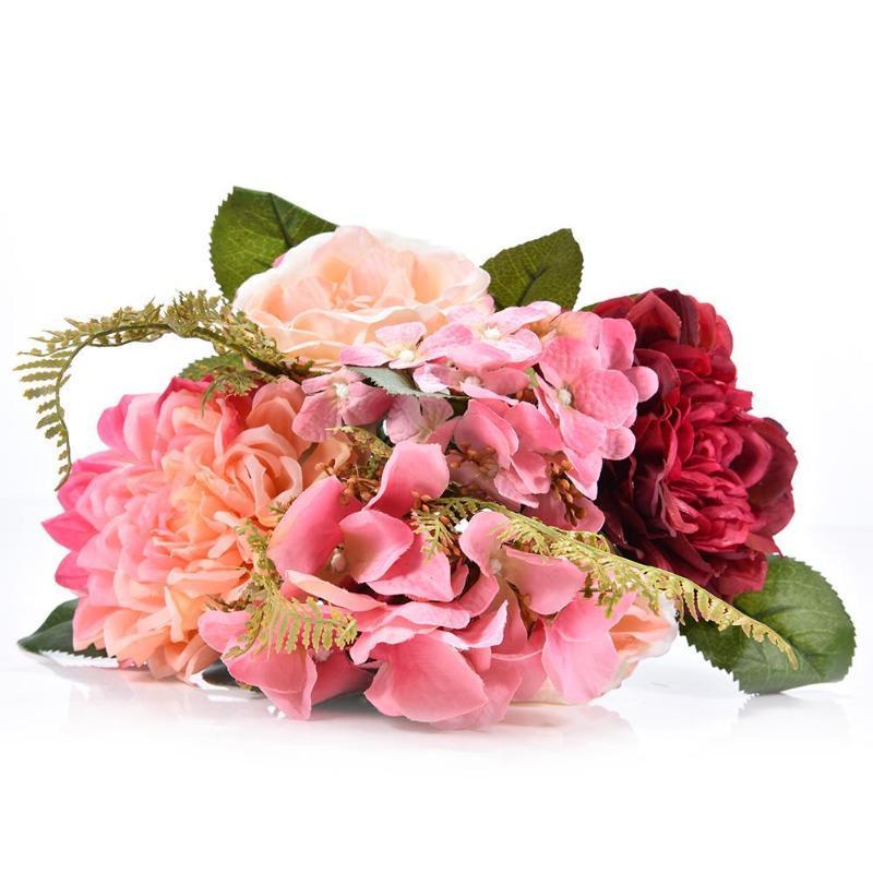 Decoração Bouquet Artificial Silk Hydrangea Pompon Flor para casamento elegante e bonito Bouquet Artificial rápida entrega