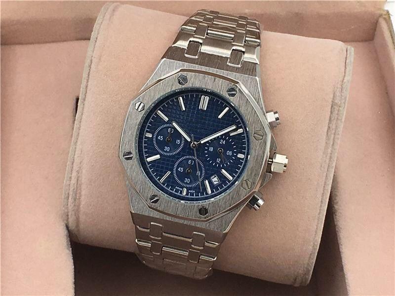 핫 디자이너 시계 스타일의 쿼츠 무브먼트 멋진 블랙 다이얼 스테인레스 스틸 높은 품질의 스트랩 패션 시계 비즈니스 캐주얼 스타일의 남성 시계