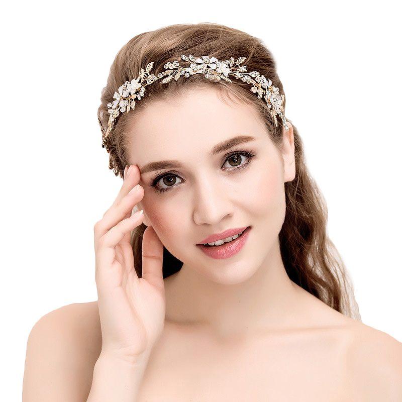 Or Bridal cheveux vigne style bohème Headpiece mariage nacrée cristal Bandeau Feuilles Fleur Halo Mariage Accessoires de cheveux