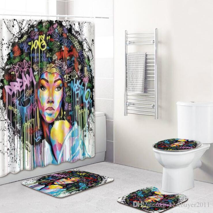 2020 Новое прибытие Горячие продажи Afro женщина взрыва женщина ванной коврик душевой занавес Комбинация Ковер 4 Piece Set B00