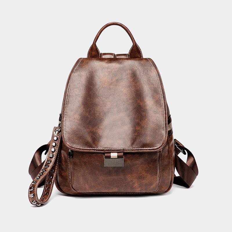 Горячий Оригинал Многофункциональной Школа Рюкзак Vintage масла воск кожа рюкзак откидная крышка рюкзака мода рюкзак женщины сумка