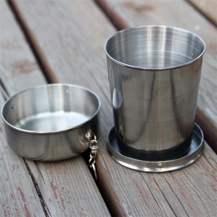 Nova Todos os copos telescópicos de aço inoxidável de aço inoxidável todo dobragem copo copo de beber copo de vinho Hip frascos 140ml 3034