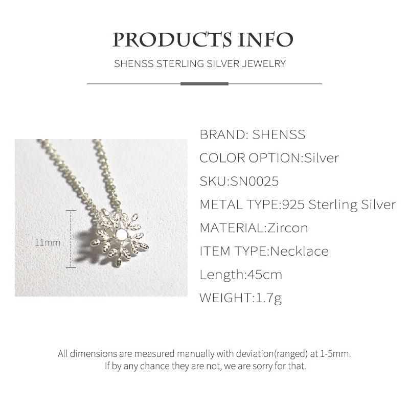 Elegant Quality Silver 925 Jewelry Fashion Snowflake Shape Zircon Necklace S925 Sterling Silver Necklace for Women