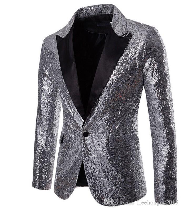 Мода Блестящие Мужчины Стильный Костюм Пиджак Куртка Одной Кнопкой Этап Выполнить Пиджак Party Club Singer Blazer Куртка Squin Куртка Для Мужчин 601