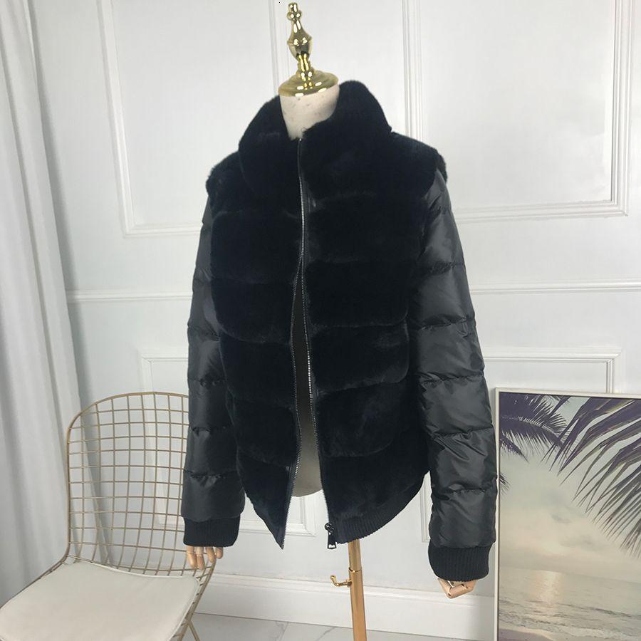 le donne del coniglio di Rex breve cappotto di pelliccia con il collare in piedi con lungo le maniche spessore caldo inverno giacca di vera pelliccia stile sportivo casual T191119