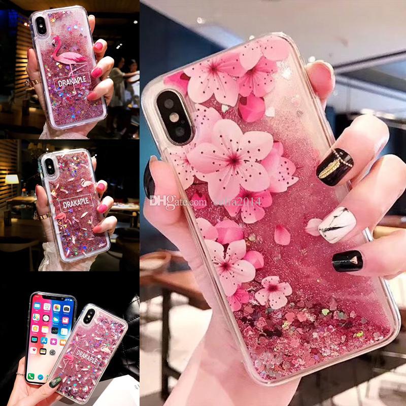 iPhone 7 8 6 S 6S Artı Cases iPhone XS MAX XR X SE 5S 5S Silikon Arka Telefon Kapak Kılıf için Sıvı Bataklık Glitter Kılıf