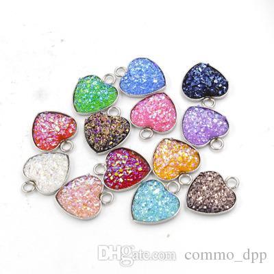 In acciaio inox Love Heart Druzy Ciondolo in pietra 13MM Bling a forma di cuore fascino per collane Gioielli fai-da-te di moda fare Bulk