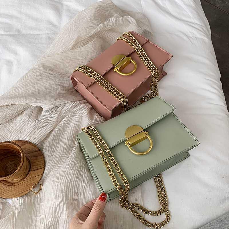 Solido in pelle colore PU Borse Crossbody per le donne 2020 catena Flap Shoulder Bag Messenger femminile Borse di viaggio e borse