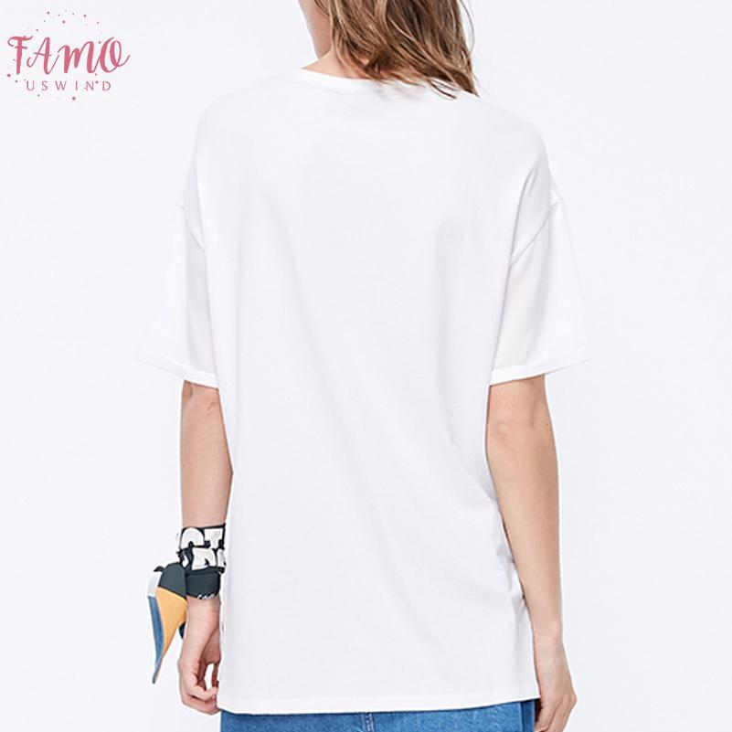 Été 2020 T-shirt femmes Harajuku Imprimer Vintage Femme Mode Casual T-shirt O manches courtes T-shirt blanc Tops Vêtements