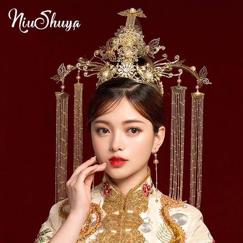 Nupcial Vintage NiuShuya chinês Vintage Headband antiga ouro longa borlas jóia do casamento Grande Stage Show Acessórios de cabelo
