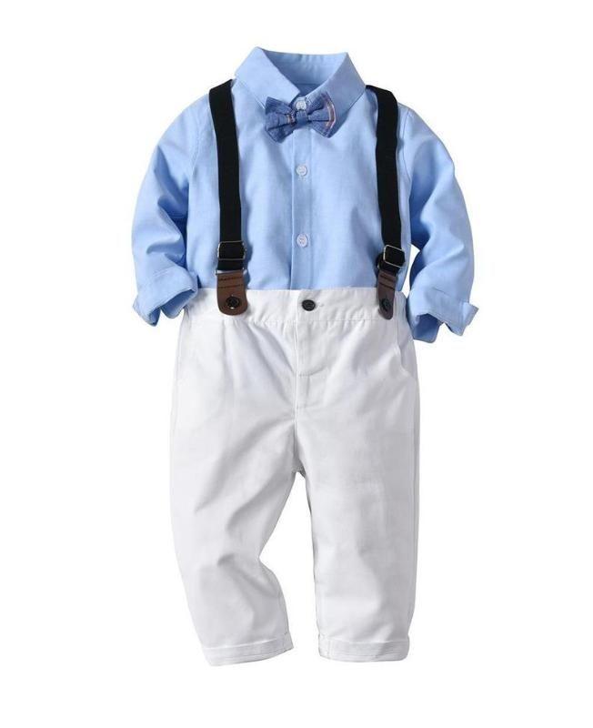 2020 nuevos muchachos del caballero de traje determinada Pajarita cielo azul camiseta y los pantalones de la liga del pantalón manera de los niños la ropa del muchacho otoño