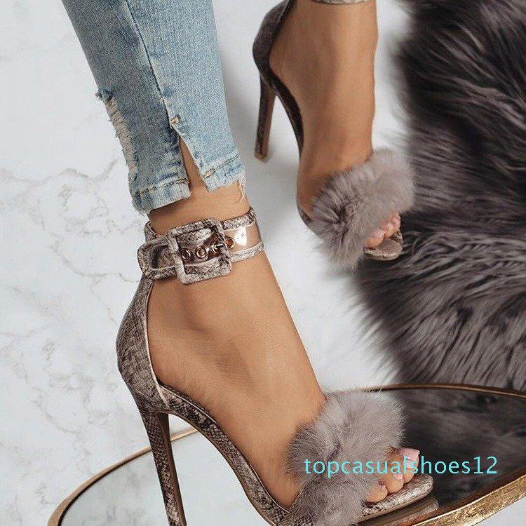 2019 new European and American rabbit hair word with high heels female designer high quality dress sandals large size 43 yards tide 12t