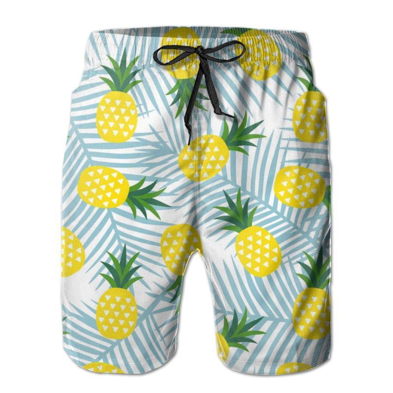 Men Beach Shorts Quick-drying Men Swimming Trunks Yellow Pineapple With Triangles Geometric Fruit Swimwear Swimsuit