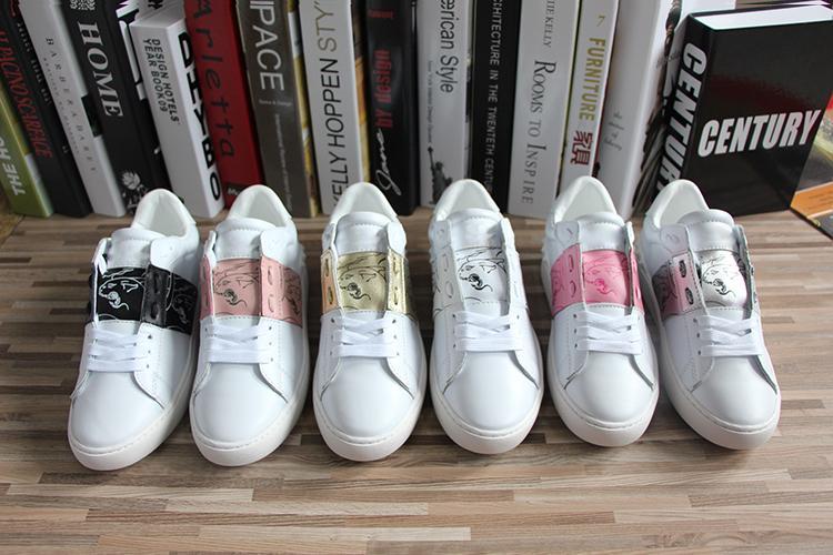 Luxe concepteur bande de couleur couture classique des hommes et des femmes de chaussures de sport imprimés chaussures bas occasionnels plat espadrilles blanches de la mode avec packagin