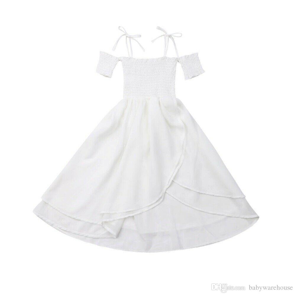 Toddler Baby Summer Clothing Girls White Dress Sleeveless Drawstring Strap Princess Party Dresses Braces Skirt Kids Clothes