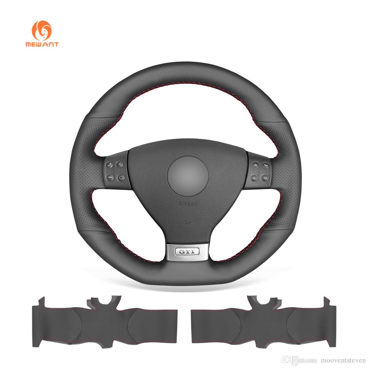 MEWANT Black Artificial Leather Car Steering Wheel Cover for Volkswagen Golf 5 Mk5 GTI VW Golf 5 R32 Passat R GT 2005