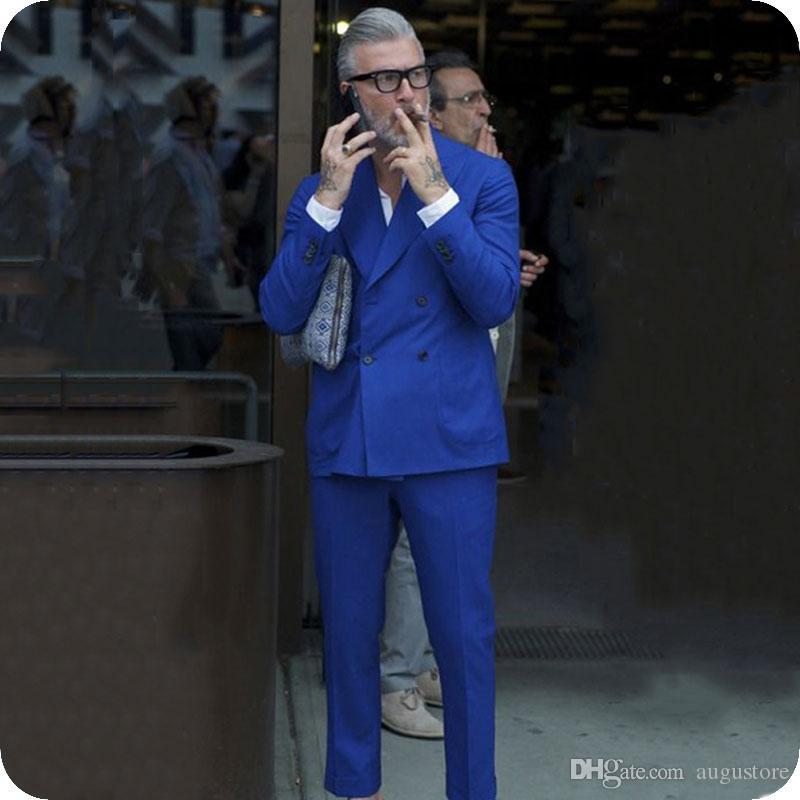 Roayl Blue Men Anzüge Sommer Bräutigam Smoking trajes de hombre 2Piece Slim Fit Kostüm Homme Weit spitzen Revers Best Man Outfits Terno Masculino