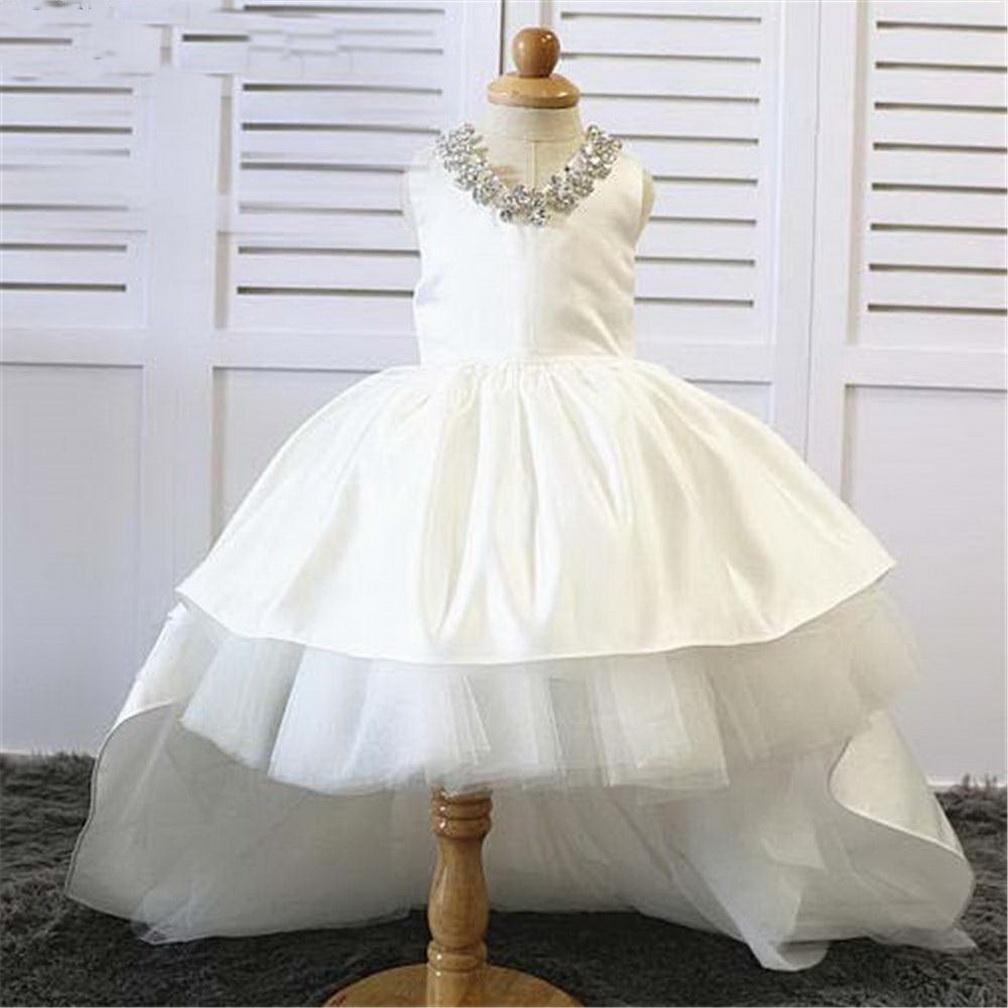 blanco marfil niña de las flores vestido de los niños del desfile de cumpleaños formal del partido del vestido del cordón largo del Bowknot del vestido de primera comunión de baile vestido 3M-14 Años