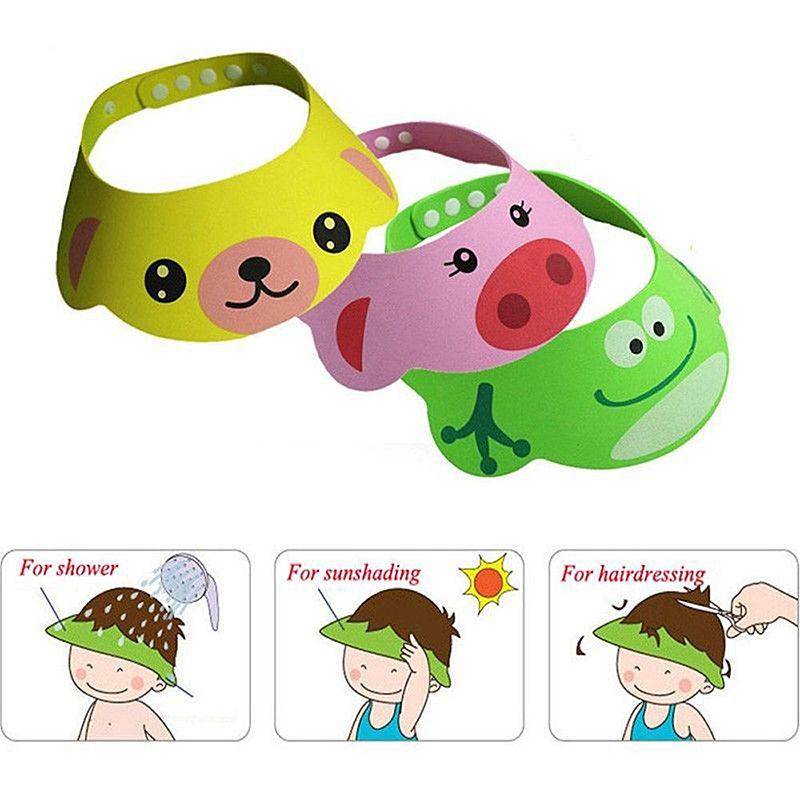 Soft Baby Kids Toddler Bathing Cartoon Shower Cap Hat Wash Hair Shampoo Shield