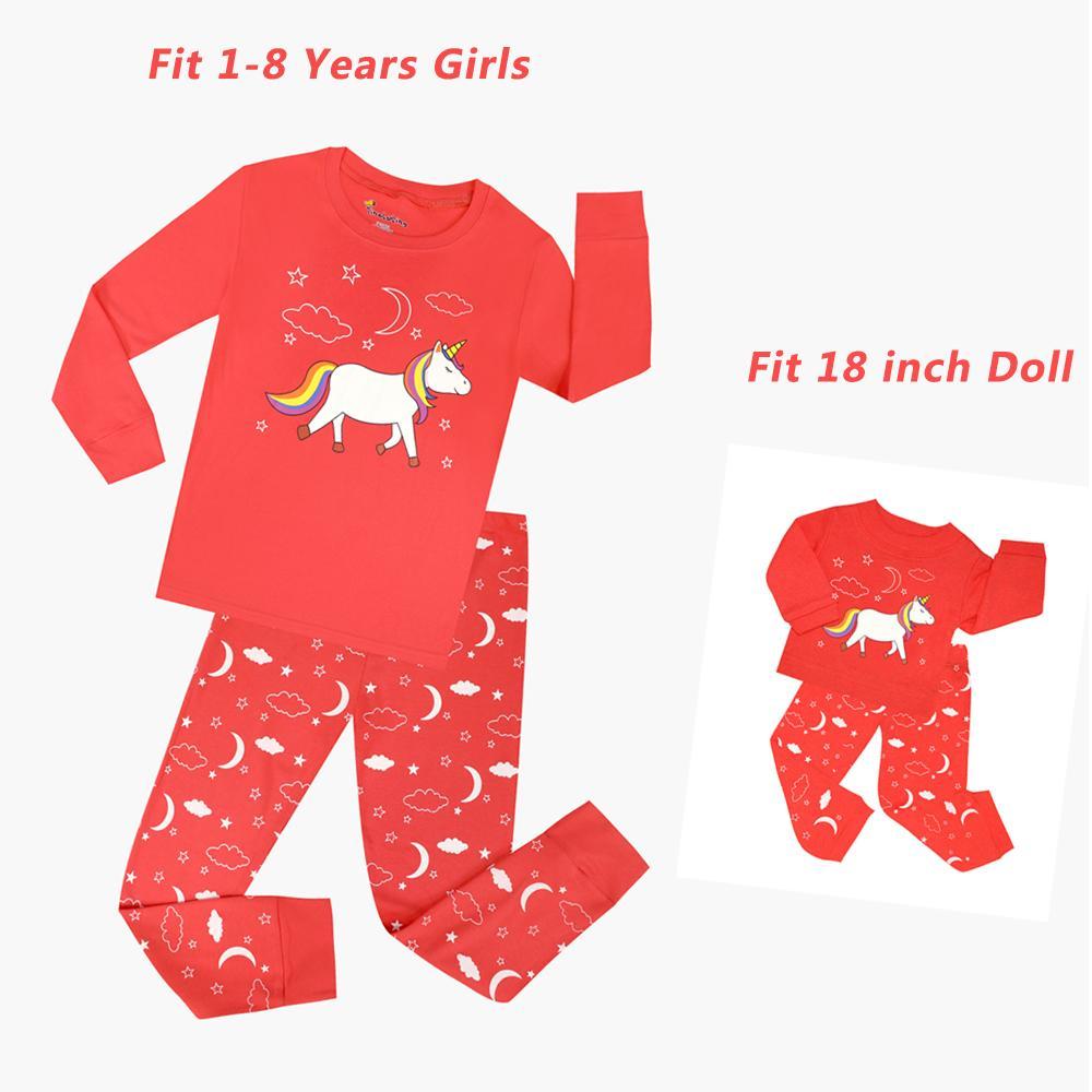 Niñas y muñecas a juego Conjuntos de pijamas para niños Conjuntos de pijamas para niños Unicornio Pijama Unicornio Infantil Ropa para niños 18 pulgadas Muñecas Pijamas J190520