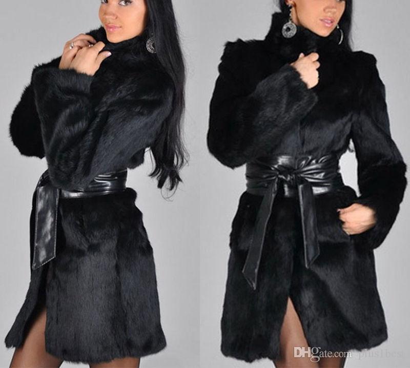 Plus Size Womens Pelz-Mäntel Langarm-Fest Farbe der Frauen-Winter-warme Oberbekleidung mit Gurt Frauen Mäntel