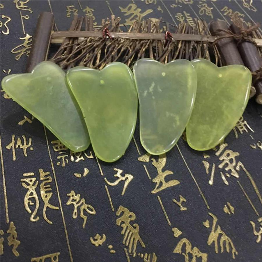 اليشم مجلس الطبيعية اليشم الأخضر حجر علاج تدليك GuaSha أداة الوجه الجسم الاسترخاء الجمال الرعاية الصحية أداة RRA3187