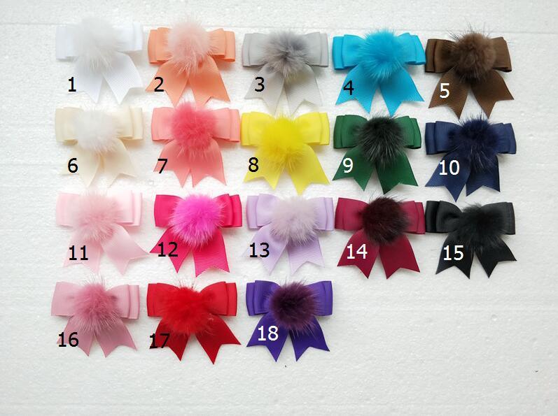 Capelli Fur Pompon sfera Bowknot forcelle Accessori clip per i legami delle donne della ragazza Pompon Bobbles Capelli Coda di cavallo Headwear 20pcs GR103