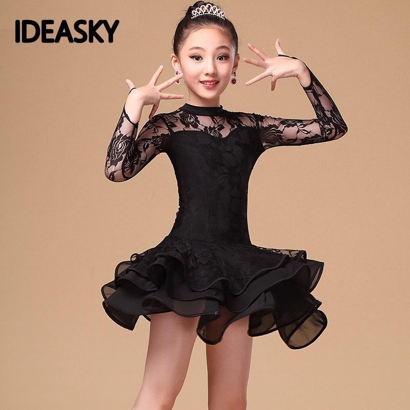 Lace Sequin bambini più nuovi sexy della sala da ballo abiti da tango latino salsa vestito da ballo dei bambini rosso abito di pizzo nero per le ragazze a manica lunga