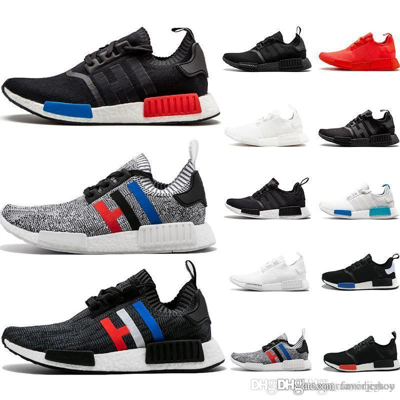Cheap NMD R1 running shoes Primeknit classic OG Triple black White red Running shoes Men Women beige Runner Sports sneaker Shoe EUR 36-45