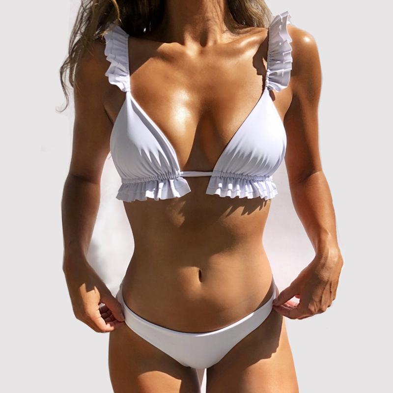 Sexy Bikinis Volantes sin espalda del traje de baño de las mujeres bajo la cintura desgaste de la playa de las mujeres traje de baño triángulo Bikinis Summer Set Conjunto Biquinis