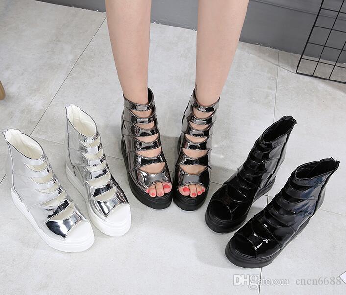 3 couleur haute qualité femme nouveau style plate-forme chaussures bouche de poisson chaussures talon compensé sandales Cut-Outs Zip haut taille chaussures ~ 34 ~ 39