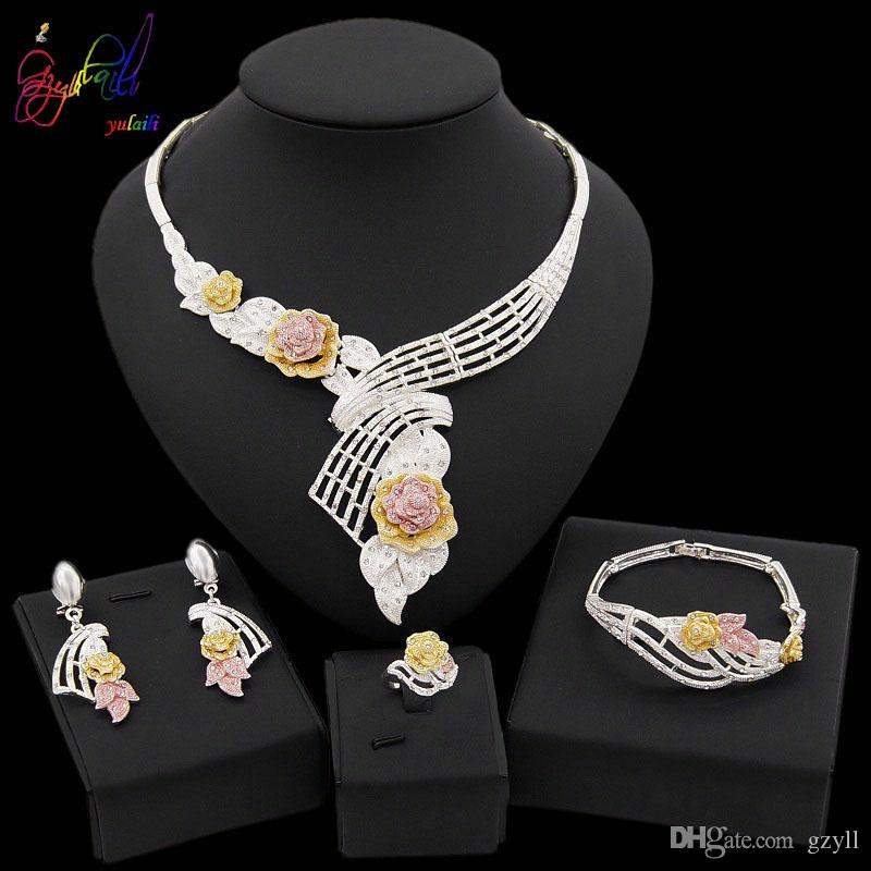 Yulaili New Vintage Silver Plated Clear Crystal Pendant Necklace Earrings Bangle Ring African Nigeria Wedding Bridal Dubai Jewelry Sets 2019