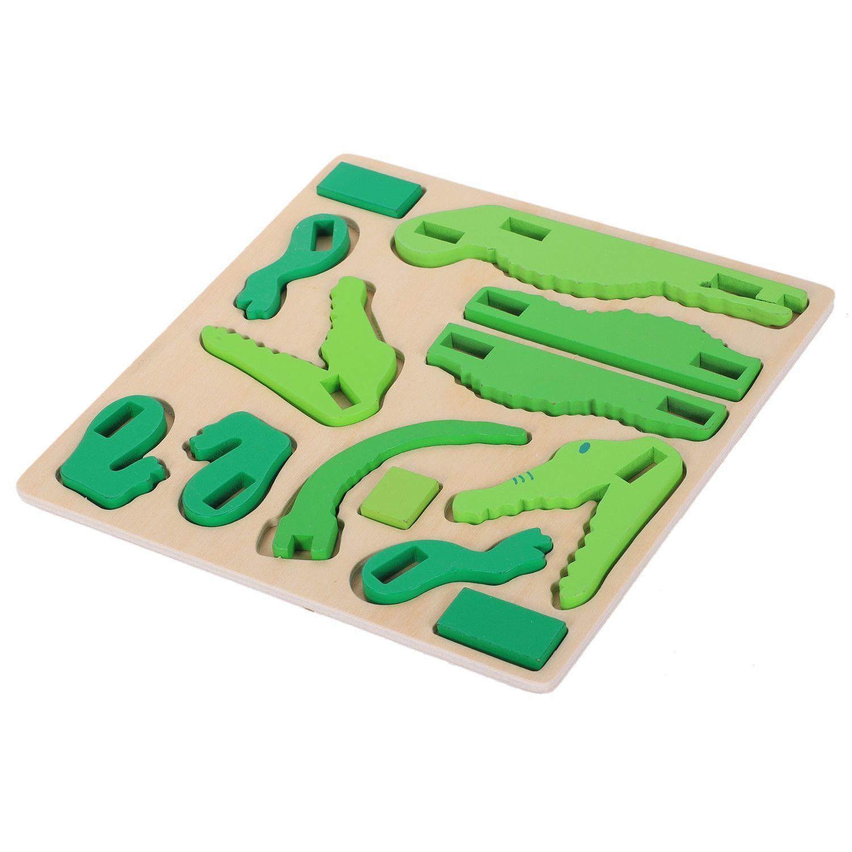 귀여운 동물 나무 3D 퍼즐 장난감 어린이를위한 아기 조기 학습 어린이 정보 교육 만화 나무 장난감, 크로