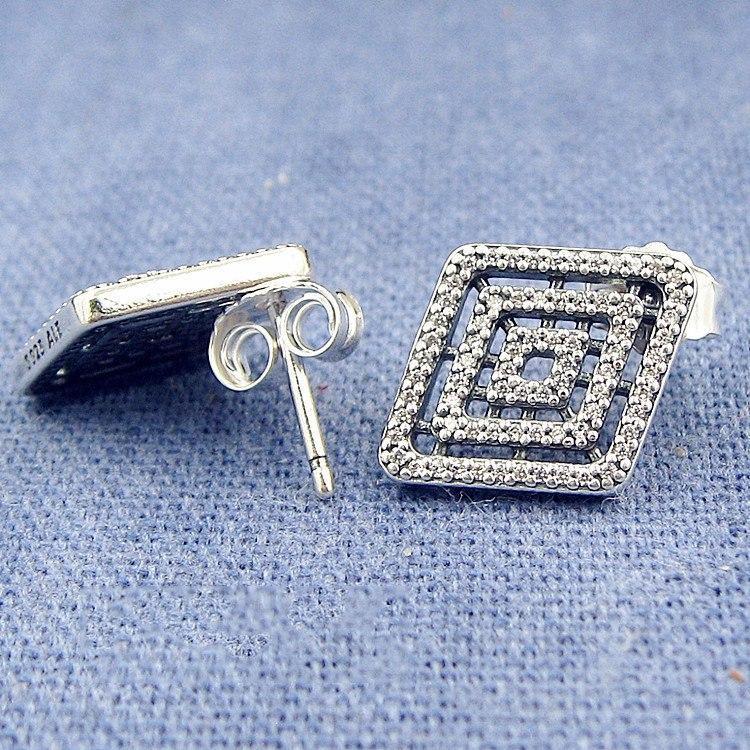 Atacado de Pandora brincos prata esterlina 925 Set CZ Diamond Jewelry Geometric Linha das senhoras de alta qualidade elegante Brinco